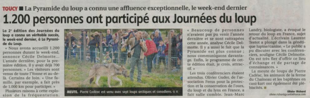 Article de presse sur le loup